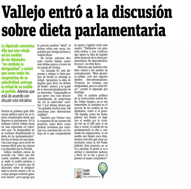 Felipe Veragra_Dieta Parlamentaria_Publimetro_11_03_2014