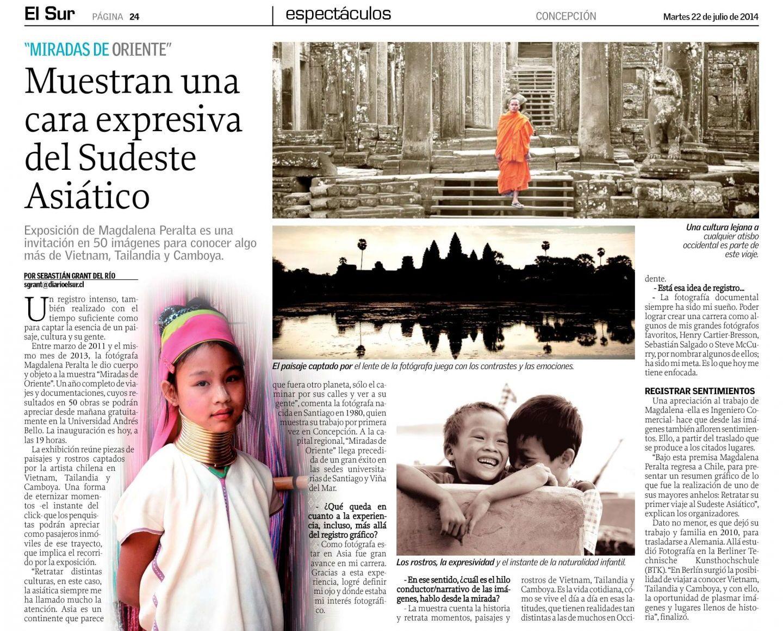 2014.07.22 El Sur - Expo Miradas Oriente