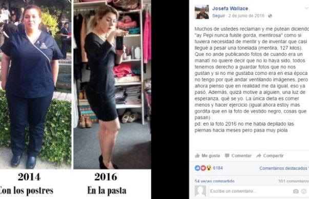 Josefa tiene más de 60 mil seguidores en Facebook, donde también aprovecha de motivar a quienes tienen unos kilos de más con su ejemplo: bajó más de 60 kilos.